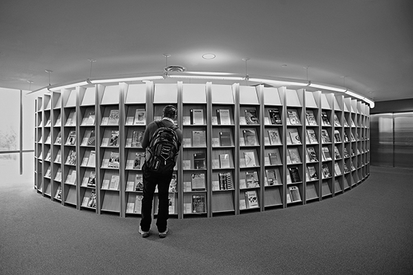 black and white photo of a library magazine collection